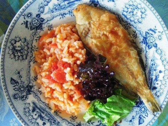 Grafe e Faca Azevias fritas com arroz de tomate