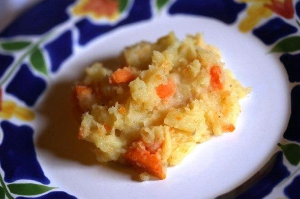 Grafe e Faca Esmagada de batata com cenoura