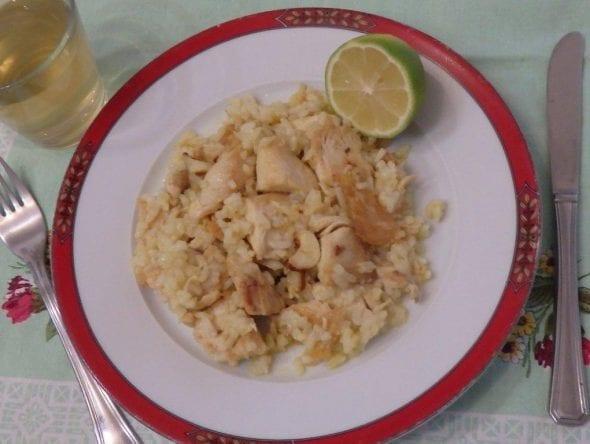 Frango frito com arroz